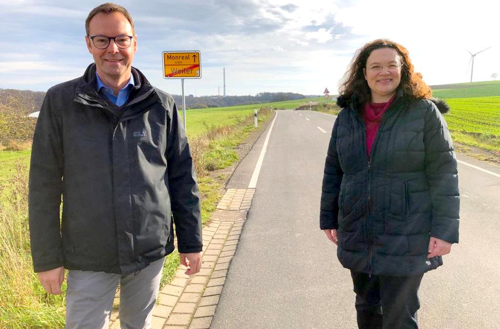 Vor Ort in Weiler: Andrea Nahles führt Landtagskandidat Dr. Alexander Wilhelm durch Heimatort (Pressemitteilung)